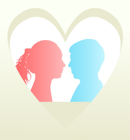 Man and woman head in heart Vector