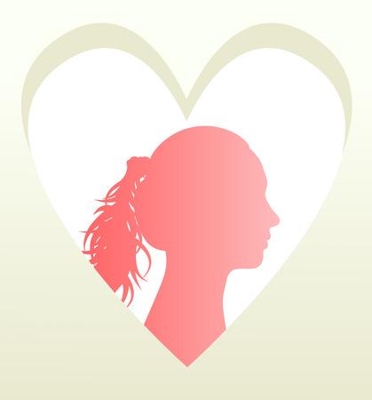 Woman head in heart  Vector