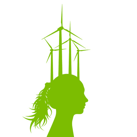 Woman head with wind generator green energy, ecology concept for poster