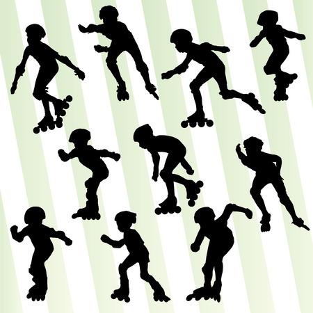 rollerblade: Kid roller skating vector background concept set