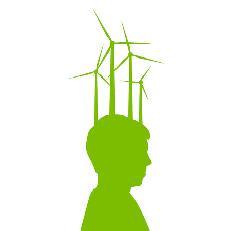 Man head with wind generator green energy, ecology concept background for poster