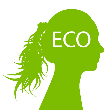 spring balance: Woman head green ecology concept background for poster