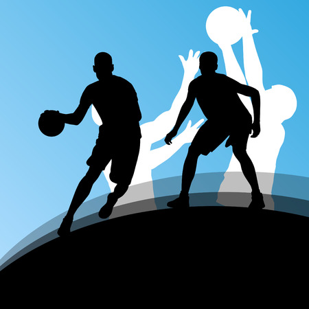 rebound: Basketball players active sport silhouettes vector background Illustration