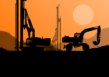 Hydraulic pile drilling machines, tractors and workers digging at industrial construction site vector background illustration Çizim