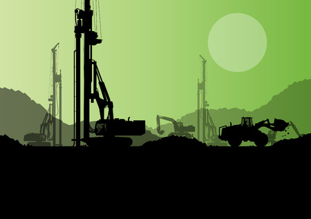 hydraulic: Hydraulic pile drilling machines, tractors and workers digging at industrial construction site vector background illustration Illustration