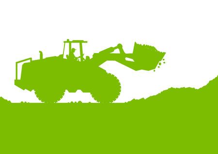excavating machine: Excavator loader digging at industrial construction site vector background illustration ecology card concept