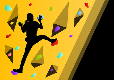 climbing wall: Children rock climber sport athletes climbing wall in abstract silhouettes background illustration vector