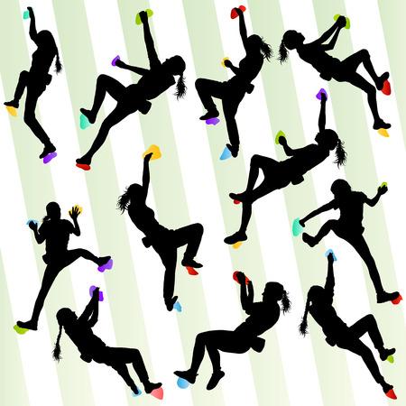 女の子クライミング岩壁設定のポスターのためのベクトルの背景概念 写真素材 - 33871246