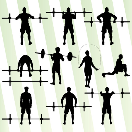 Crossfit training with weights vector background concept for poster