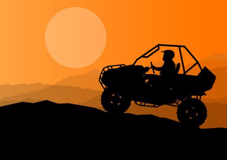 모든 지형 차량 쿼드 오토바이 라이더 야생 자연 배경 그림 벡터