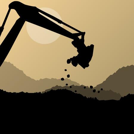 backhoe loader: Excavator digger in action vector background concept for poster
