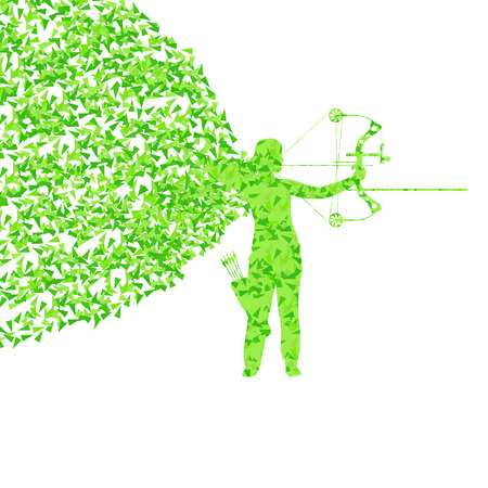 Archer training with bow vector background concept for poster