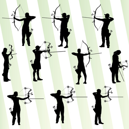 hunter: Active young archery sport silhouettes abstract background vector