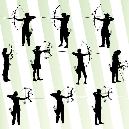 cazador: Jóvenes siluetas deporte de tiro con arco de Active fondo abstracto del vector Vectores