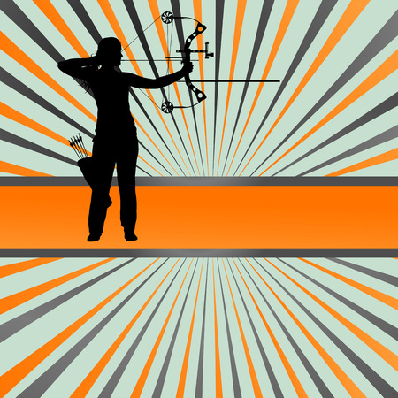 longbow: Active young archery sport silhouettes abstract background vector