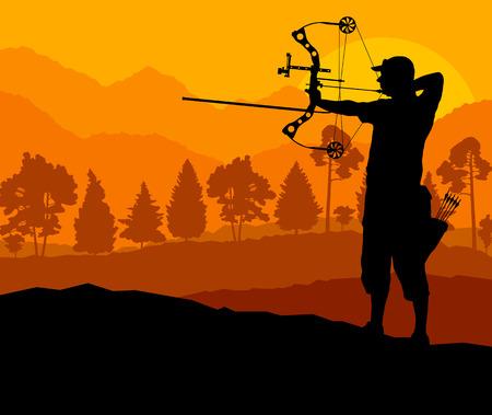 bow arrow: Activo deporte de tiro con arco silueta vector de fondo en la naturaleza