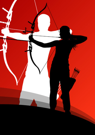 Active young archery sport man and woman silhouettes in abstract background illustration vector