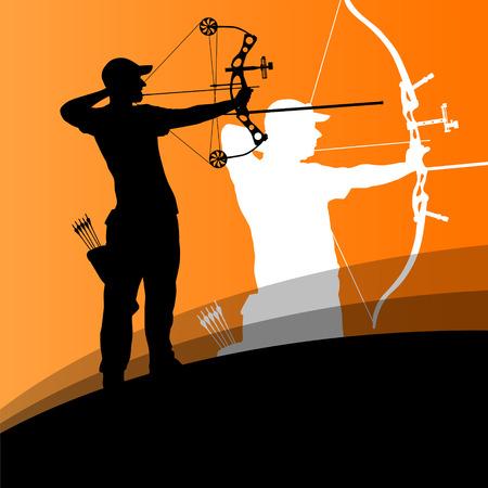 cazador: Jóvenes del deporte de tiro con arco hombre y mujer siluetas activos en el fondo abstracto ilustración vectorial