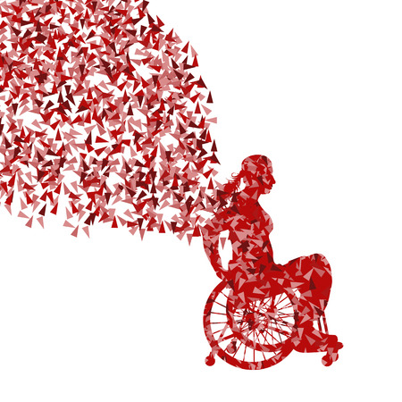 middle age woman: Woman in wheelchair vector background disabled people concept Illustration