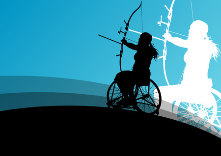disabled sports: Active disabled young women in a wheelchair detailed health care archery sport arrow shooting concept silhouette illustration background vector