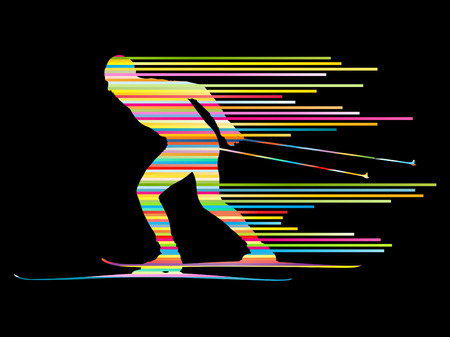 health resort: Cross country skiing vector background concept man made of stripes
