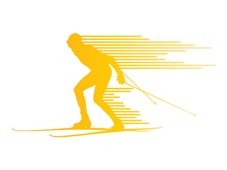 cross country skiing: Cross country skiing vector background concept man made of stripes