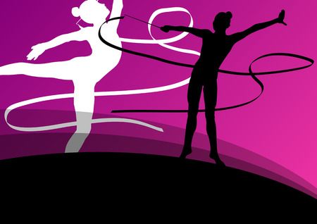 calisthenics: Active young girl gymnasts silhouettes in acrobatics flying ribbon abstract background illustration vector