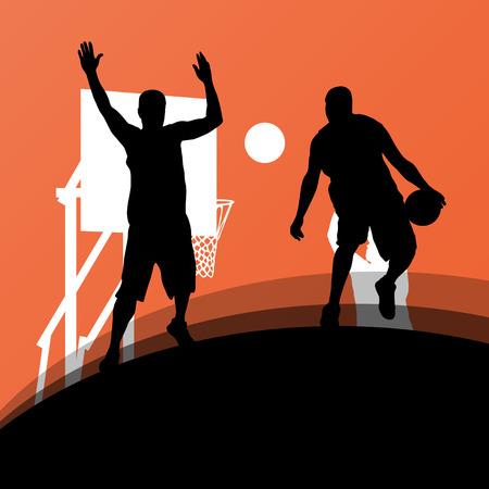 Les joueurs de basket sport silhouettes actifs vecteur de fond Banque d'images - 33872515
