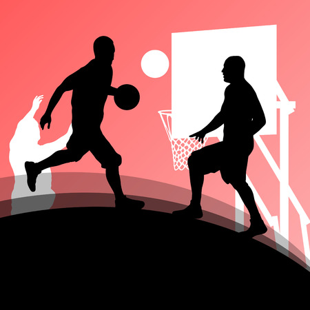Basketball players active sport silhouettes vector background Vector