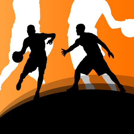 Basketball players active sport silhouettes vector background Illustration