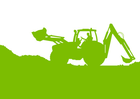 Excavator loader digging at industrial construction site vector background illustration ecology card concept