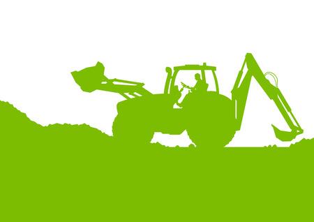 Excavator loader digging at industrial construction site vector background illustration ecology card concept