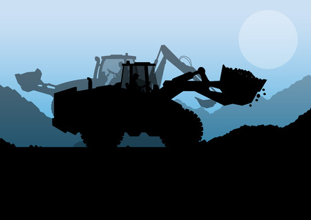 to unload: Excavator digger in action vector background concept for poster
