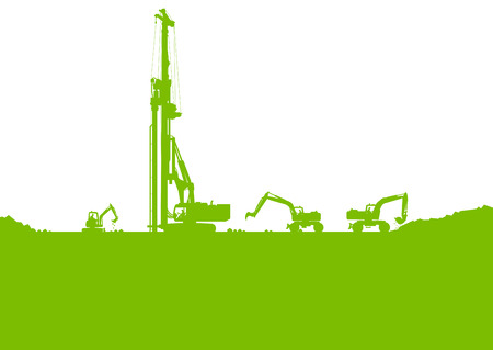 excavating machine: Ecology industrial construction site vector background illustration card concept