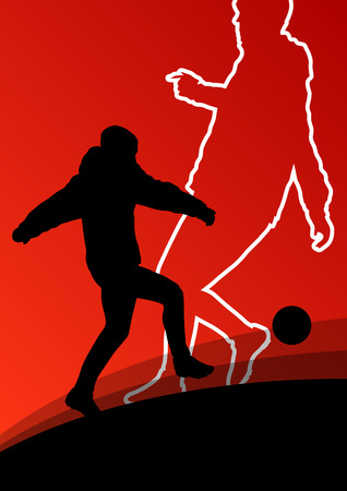 street shots: Soccer football players active young and healthy men sport silhouettes vector abstract background illustration