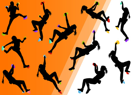 climbing sport: Children rock climber sport athletes climbing wall in abstract silhouettes background illustration vector