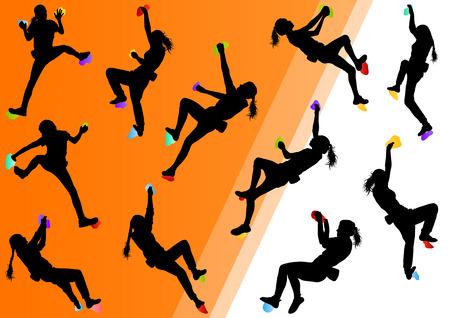 Niños escalador de roca atletas de deportes de muro de escalada en siluetas de fondo abstracto ilustración vectorial Foto de archivo - 33872669