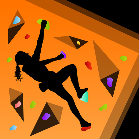 Children rock climber sport athletes climbing wall in abstract silhouettes background illustration vector