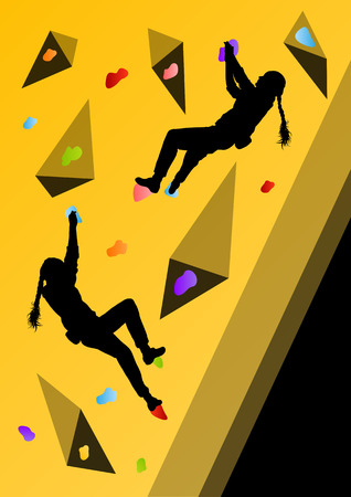 rock climb: Children rock climber sport athletes climbing wall in abstract silhouettes background illustration vector