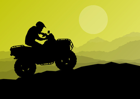 Terreinwagen quad motorrijder in de wilde natuur achtergrond illustratie vector Stock Illustratie