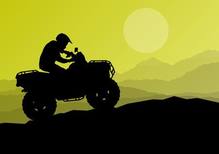Todo el jinete del vehículo del terreno quad moto en la naturaleza salvaje de ilustración de fondo vector Ilustración de vector