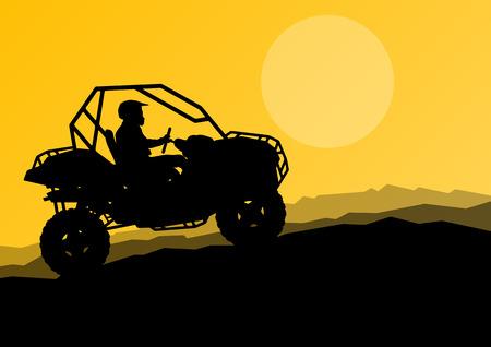 quad: All terrain vehicle quad motorbike rider in wild nature background illustration vector