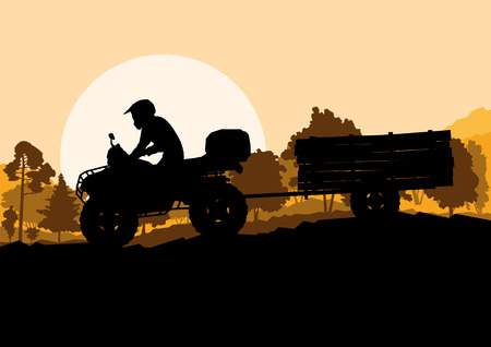 quad: All terrain vehicle quad motorbike rider with wood trailer in wild nature forest mountain landscape background illustration vector Illustration