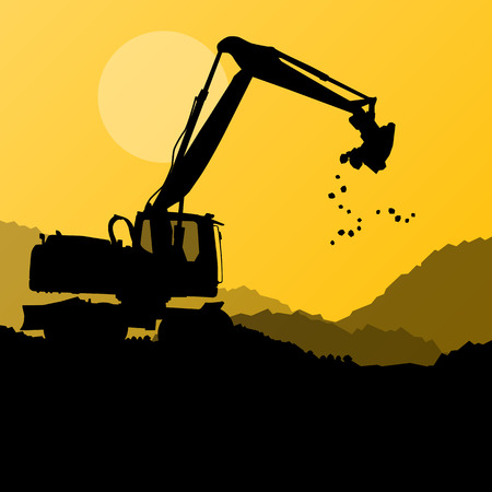 trencher: Excavator digger in action vector background concept for poster