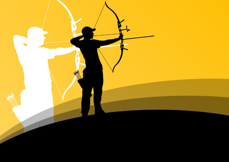 archery: Active young archery sport man and woman silhouettes in abstract background illustration vector