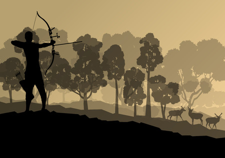 longbow: Active archery sport silhouette background vector in nature