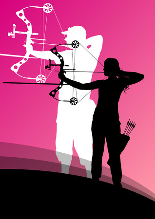 target practice: Active young archery sport man and woman silhouettes in abstract background illustration vector