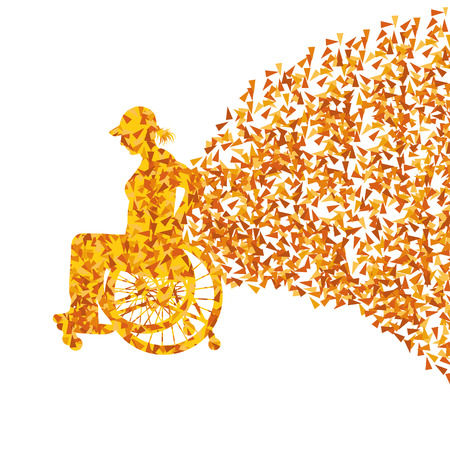 invalidity: Woman in wheelchair vector background disabled people concept Illustration