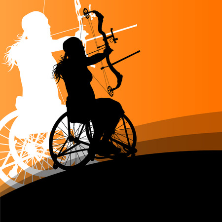 Active disabled young women in a wheelchair detailed health care archery sport arrow shooting concept silhouette illustration background vector