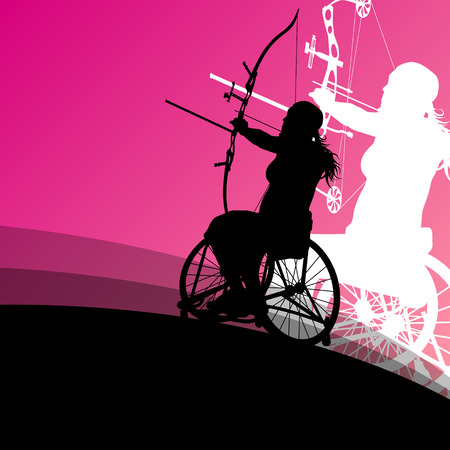archery: Active disabled young women in a wheelchair detailed health care archery sport arrow shooting concept silhouette illustration background vector